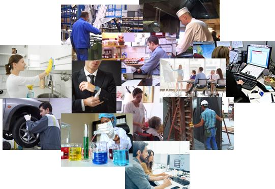 Mosaique d'images de différents métiers